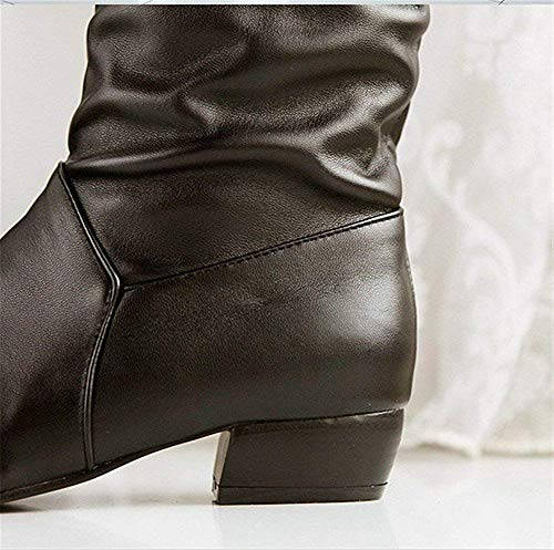 Sed Taille Barrel Grande Tête Ronde Pu Mid 39 'bottes Chaussures Eu Retro Bottes Mesdames Soulevées rxHprS1