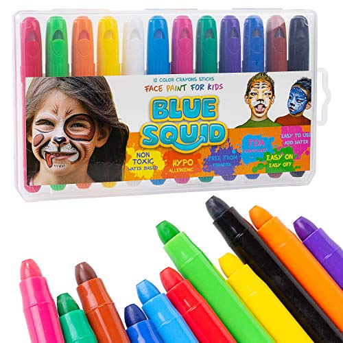 Face Paint Crayons for Kids - 12 Color No Mess Twistable Marker Sticks | Best Quality Face & Body Painting Set | Water Based Non-Toxic FDA Approved |+Online Guide]()