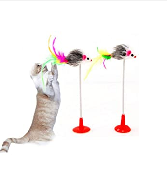 LIUQIAN Juguetes para Gatos Palo lechón ratón Vertical Gato del Animal doméstico Juguete Tease Gato Varilla Resorte adsorción Liso Conjunto de Superficies ...
