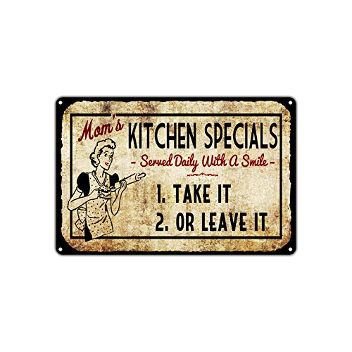 Mom's Kitchen Specials Take It Or Leave It Vintage Retro Metal Wall Decor Art Shop Man Cave Bar Aluminum 8