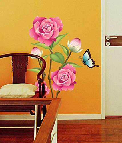 Decals Design Flower Valentine Day Lovely Roses with Buds Butterfly Wall Sticker (PVC Vinyl)