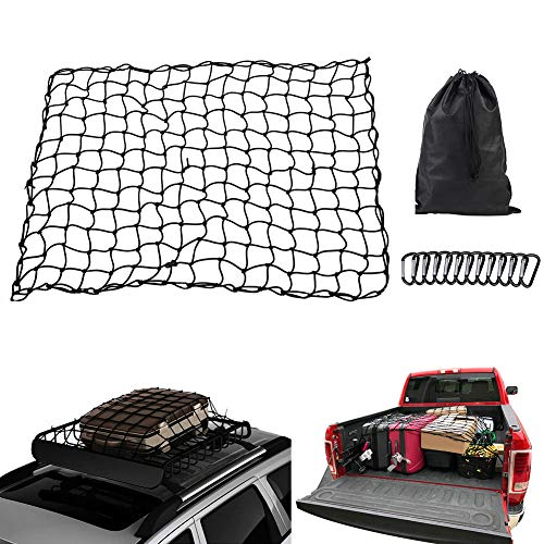 HOTSYSTEM Cargo Net 3'x4' Stretches to 6'x8' Bungee Cord,12pcs D Shape Aluminum Carabiners Universal for Pickup Truck SUV Trailer Roof Top Luggage Rack Cargo Carrier Hitch Rack