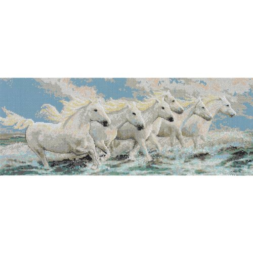 - Janlynn Seaside Horses Counted Cross Stitch Kit, 21-Inch x 8.25-Inch, 14-Pack