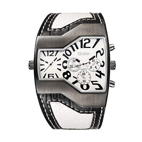 Wrist Watch for Men Waterproof Leather Classic Casual Style Two Time Zone Watches Leather Wristwatch Quartz Clock