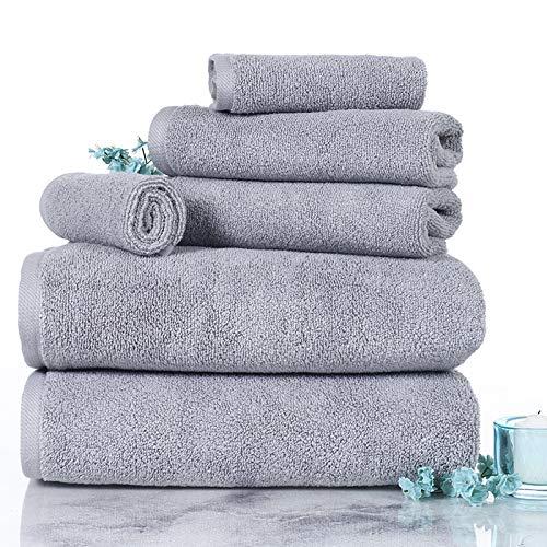 Lavish Homes 67-0017-S 6 Piece Cotton Towel Set44; Silver