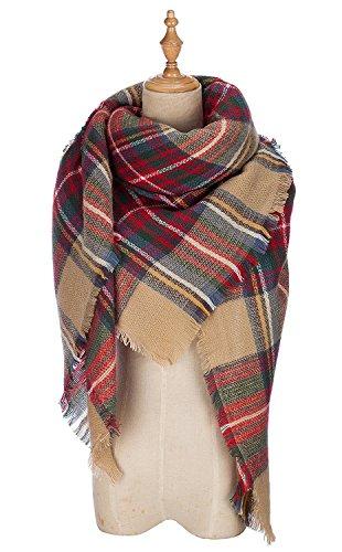 Women Square Tartan Shawl Wrap Stylish Cape Soft Cozy Checked Plaid Scarf Knit Thick Tassels Large Blanket Shawls