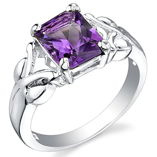 2.00 Carats Radiant Cut Amethyst Ring in Sterling Silver Rhodium Nickel Finish size 6 ()
