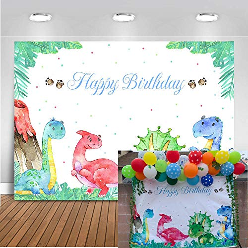 Mocsicka Dinosaur Birthday Backdrop 7x5ft Dinosaur Theme Party Happy Birthday Photo Backdrops Green Leaves Woodland Cake Table Banner Photography Studio Background