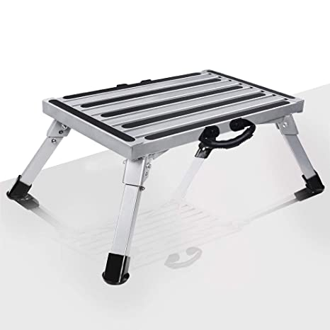 Incredible Vi Co Portable Rv Folding Step Stool One Step Ladder Aluminum Platform One Step With Non Slip Rubber Feet Anti Slip Surface And Extra Grip 1000Lbs Inzonedesignstudio Interior Chair Design Inzonedesignstudiocom