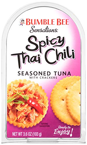 BUMBLE BEE Sensations Spicy Thai Chili Seasoned Tuna with Crackers, Tuna Snack Kit, High Protein Food, Bulk Snacks, 3.6 Ounce Packages (Pack of 12) (Best Low Calorie Lunch)