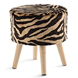 Cheer Collection 13'' Round Ottoman | Super Soft Decorative Tiger Print Faux Fur Foot Stool with Wood Legs