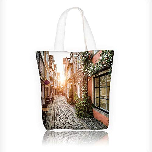 Reusable Cotton Canvas Zipper bag toric schnoorviertel at sunset in bremen germany Tote Laptop Beach Handbags W16.5xH14xD7 INCH