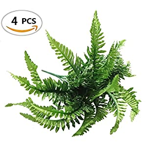 Fake Faux Artificial Boston Ferns Plants Greenery Bushes for Indoor Outside Home Garden Party Decor 4 Bunches 24 Leaves Per Bunch 46