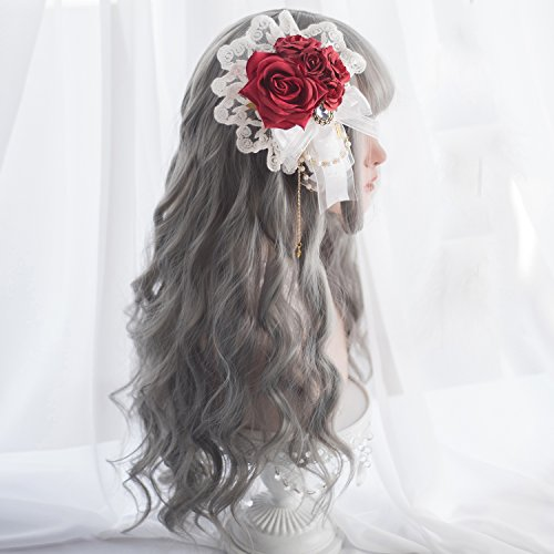 Long Wavy Grey Wig Bangs - Natural Gray Wigs for Women and Girls Cosplay Costume, Lolita Style Synthetic Hair with Wig Cap by Alice Garden Wigs (Image #2)