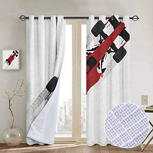 NUOMANAN Curtains for Living Room Cars,Formula Car on Speedway Championship Fast Performance Rally Strong Vehicle, Red Black Pale Gray,Complete Darkness, Noise Reducing Curtain 84