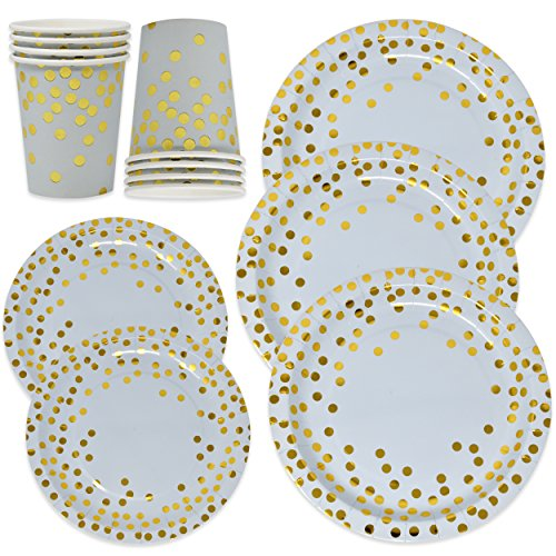 Blue and Gold Party Supplies Disposable Paper Plates and Cups Set for 50, Gold Metallic Foil Dots on Pink 50 Dinner Plates 50 Dessert Plates and 50 9 oz Cups for Boy Baby Shower Babys First Birthday ()