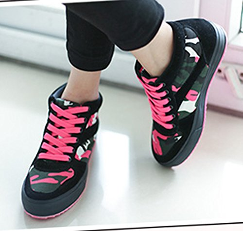 Aisun Womens Camouflage High Top Height Elevator Sneakers Boots Black ydNiLa