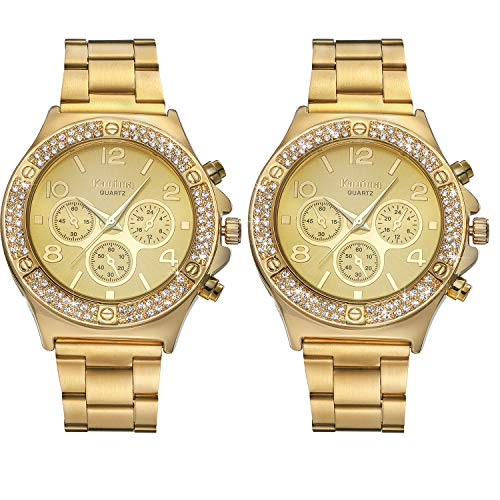 (Lancardo Iced Out Watch 2Pcs Costume Hip Hop Luxury Bling Double Daul Rhinestone Bezel Gold Tone Watch (Upgrade Version))