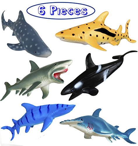 Shark Toy Figures 7 Inches - Ocean Animals, Bath Toys Rubber Figures - 6 Pieces Set (Shark Toys Kids)