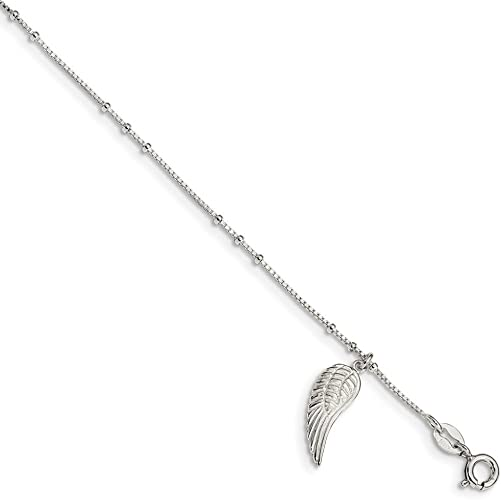 Sterling Silver /& Rose-tone Seashore Dangles with 1in Extender Anklet