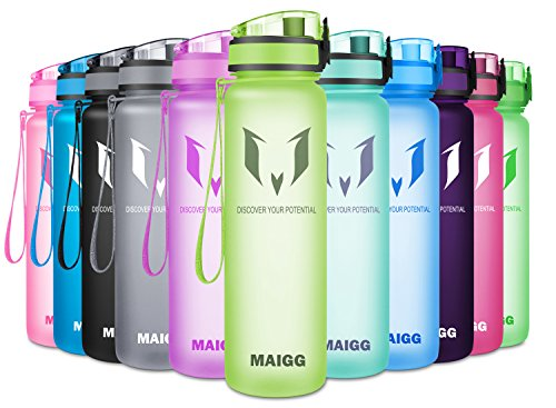 MAIGG Best Sports Water Bottle - 17oz & 32oz - Eco Friendly & BPA-Free Plastic - Fast Water Flow, Flip Top, Opens 1-Click - Reusable Leak-Proof Lid (Bamboo Green, 500ml-17oz)