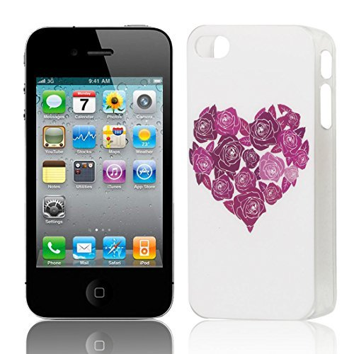 DealMux Red Flower Heart Pattern Hard Back Case Cover Brown for iPhone 4 4G 4S (Flowers Iphone 4g)