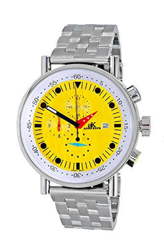 Adee Kaye Men's Quartz Stainless Steel Sport Watch, Color Silver-Toned (Model: AK2268-50_YL)