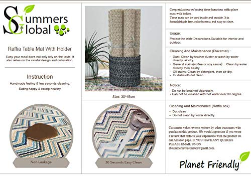 Planet Friendly 6 Raffia Place mats and Matching -