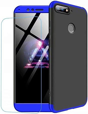 Ttimao Compatible avec Les Coque Huawei Honor 9 Lite PC Étui Rigide [Protecteur D'écran] Bleu Noir Huawei Honor 9 Lite