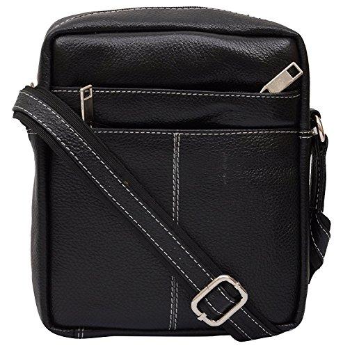 Bolso de hombro HIGHLEDER negro vintage cuero Crossbody para hombres y mujeres