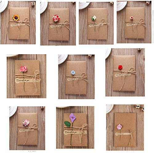TANG SONG 20PCS Dried Flowers Greeting Cards, Handmade Greeting Cards Vintage Kraft Blank Note Card Thank Notes for Birthday Party Invitation Card (Each card measures 6.8x 4.3 inch)