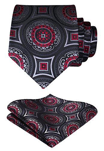 (HISDERN Paisley Wedding Tie Handkerchief Woven Classic Men's Necktie & Pocket Square Set Black & Red)