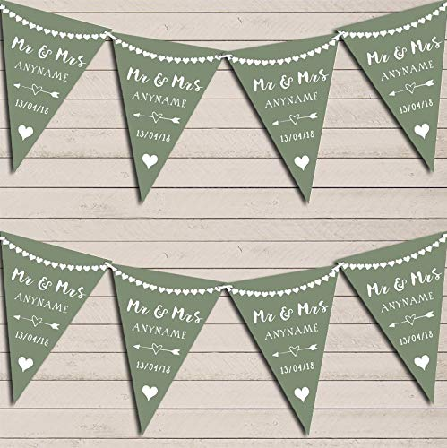 Heart Mr & Mrs Sage Green Wedding Day Married Bunting Party Venue Decoration Party Flag Banner - Sage Zoo