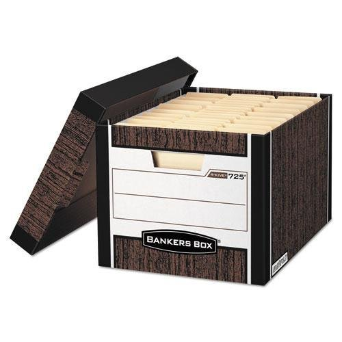 NEW - R-Kive Max Storage Box, Letter/Legal, Locking Lid, Woodgrain, 12/Carton - 725 by Bankers Box by Bankers Box