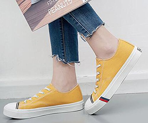 Flat Up Toe Lace Womens Low Plimsolls Yellow IDIFU Simple Sneakers Canvas Skate Round Top qFnWC8
