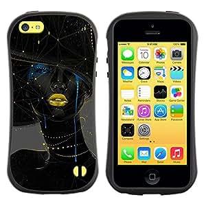 "Hypernova Slim Fit Dual Barniz Protector Caso Case Funda Para Apple iPhone 5C [Mujer Oro Labios Moda Arte""]"