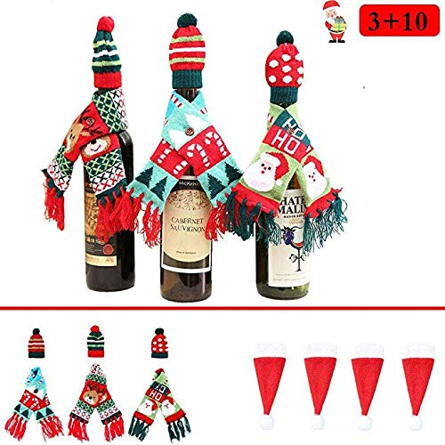 (Hot Christmas Wine Bottle Cover Gift Wrapping Knitted Sweater Scarves and Hat for Home Party Kitchen Table Decoration 3 Designs - with 10 Pcs Santa Claus Hat Cutlery Bags Set)