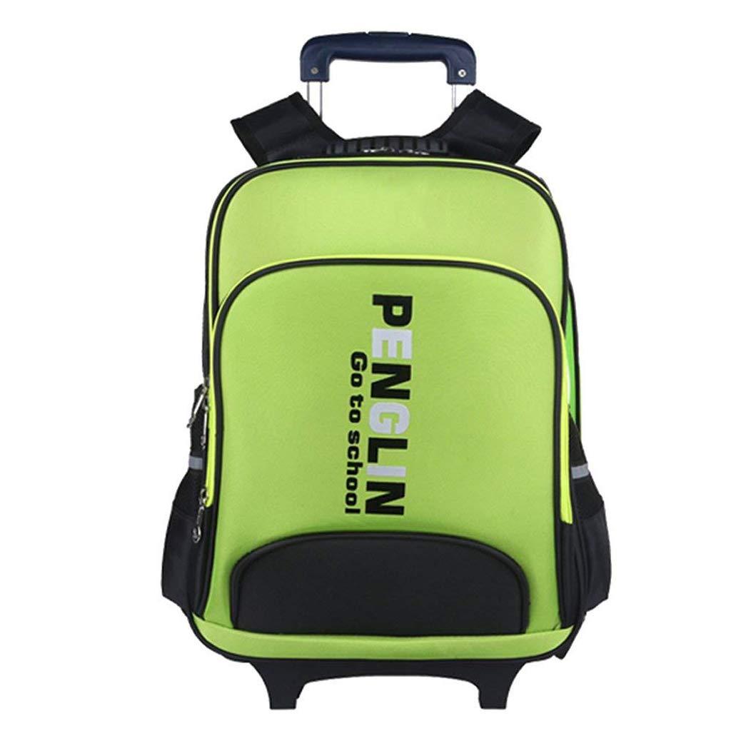 Zmsdt 取り外し可能な学生トロリーバックパック アウトドア 旅行 減圧トロリーケース 学生用バックパック  グリーン B07JD6LKQ7
