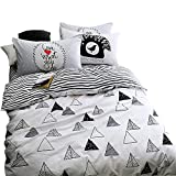 EnjoyBridal Teens Kids Bedding Sets Twin Size Geometic Triangle Stripes Cotton Duvet Cover Sets Children Bed 3 Pieces Home Textile 1 Comforter Cover 2 Pillowshams(Twin, Triangle)