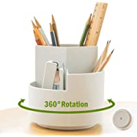 NBEST 360 degree rotating multi-functional pen holder, 4 separate layer desktop stationery storage bags, home office art…