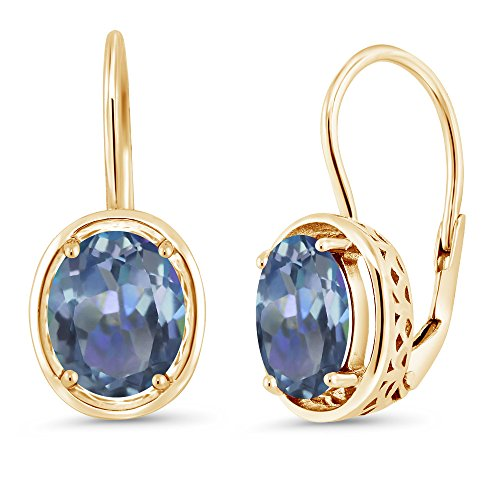 Gem Stone King 3.60 Ct Oval Cassiopeia Mystic Topaz 18K Yellow Gold Plated Silver Earrings