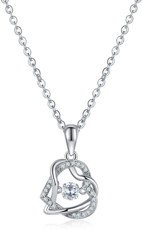 wuligeya Plata Pura Herida Doble corazón de durazno Diamante Colgante Collar clavícula Cadena s925