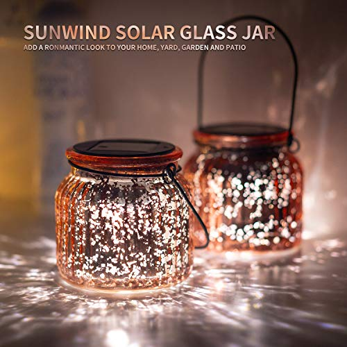 Solar Mercury Glass Mason Jars - 2 Pack SUNWIND Solar Rotating Table Lights with Color Changing Mode and White Mode Outdoor Hanging Lights for Garden, Patio, Home Decoration (Bronze)