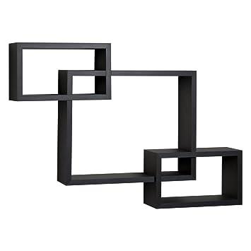 Danya B Black Intersecting Wall Shelf. Amazon com  Danya B Black Intersecting Wall Shelf  Home   Kitchen