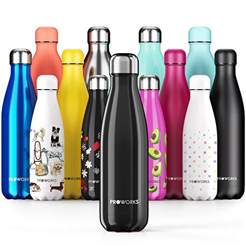 Proworks Botellas de Agua Deportiva de Acero Inoxidable | Cantimplora Termo con Doble Aislamiento para 12 Horas de Bebida Caliente y 24 Horas de Bebida Fria - Libre de BPA - 350ml – Negro