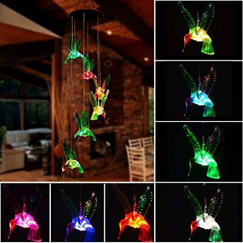 Doingart Solar Hummingbird Wind Chime, 7 Color Changing Solar Mobile Wind Chime Outdoor Waterproof Six Hummingbird Wind Chimes for Home Party Night Garden