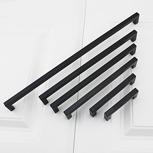 10Pack Goldenwarm Black Square Bar Cabinet Pull Drawer Handle Stainless Steel Modern Hardware for Kitchen and Bathroom Cabinets Cupboard, Center to Center 7-1/2in(192mm) by goldenwarm (Image #9)