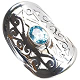 Natural Blue Topaz Handmade Unique 925 Sterling Silver Ring 8 Y4231