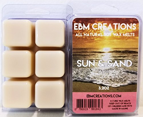Sun & Sand (Type) - Scented All Natural Soy Wax Melts - 6 Cube Clamshell 3.2oz Highly Scented! ()