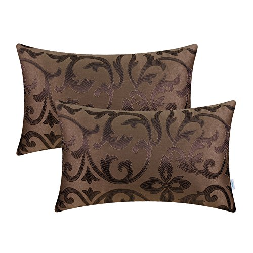 CaliTime Pack of 2 Bolster Pillow Covers Cases for Couch Sofa Home Decoration Vintage Floral Two Tone Contrast Both Sides 12 X 20 inches Coffee